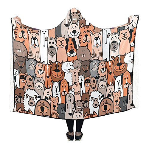 InterestPrint Hooded Blanket Funny Cute Dogs and Cats Pilling Polar Fleece Hooded Throw Wrap 80 x 53 ()