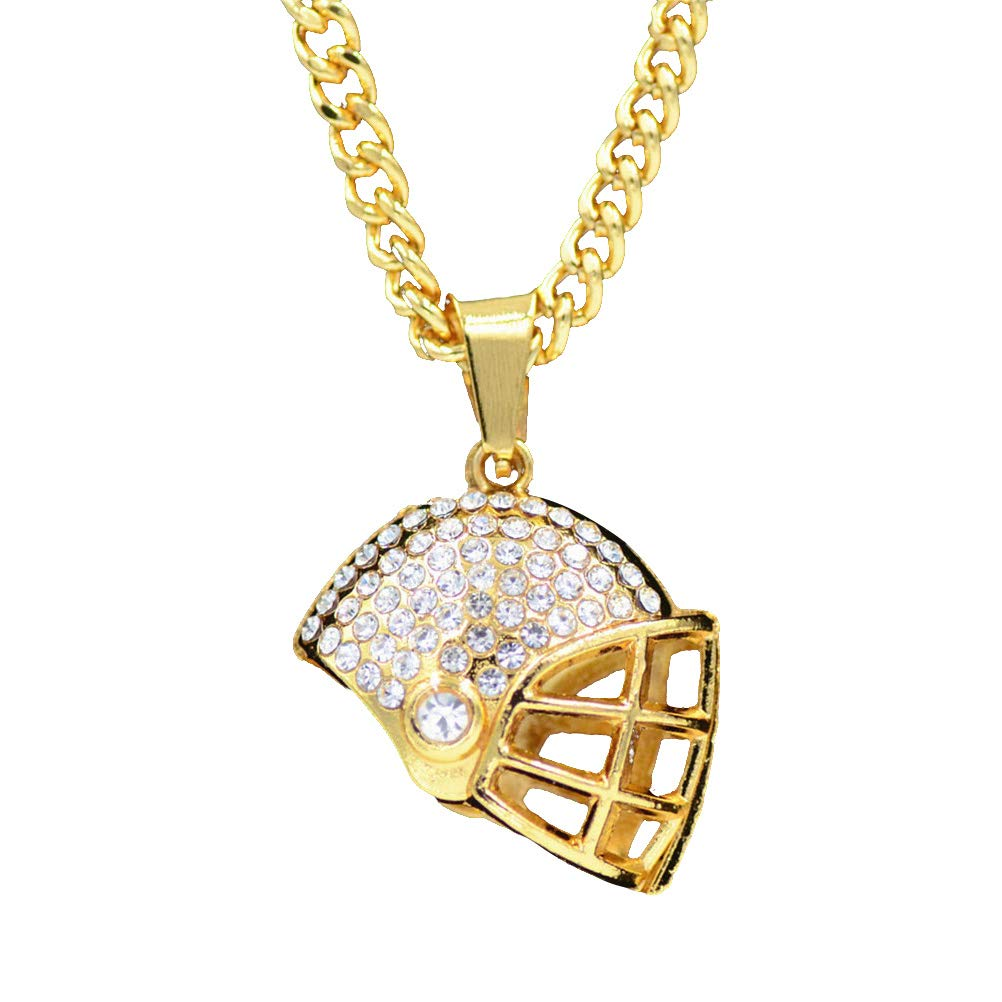 BESTOYAED Gold Plated Football Helmet Pendant Necklace Sparkling Rhinestone Crystal Necklace Jewelry Gifts for Women Girls (Golden)