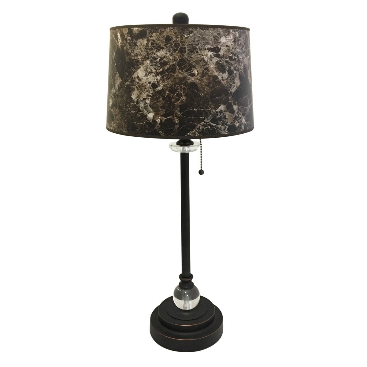 Royal Designs 28'' Crystal and Oil Rub Bronze Buffet Lamp with Dark Brown Marble Hardback Lamp Shade