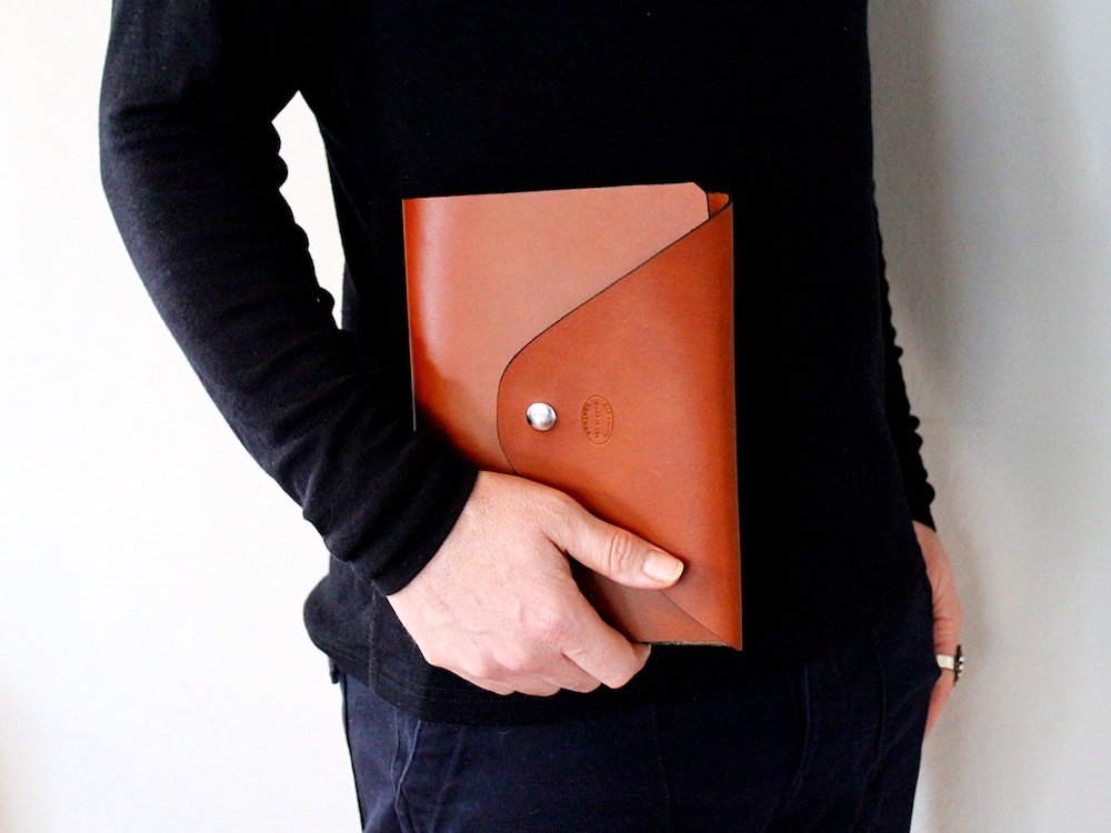 Personalized Leather Envelope Journal with Spiral Notebook