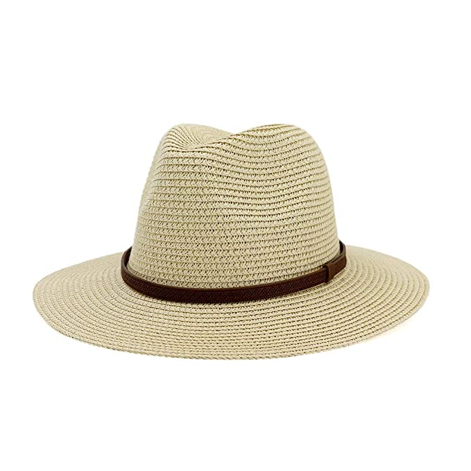 Panama Outdoor Men Straw Fedora Sun Hat Quality Solid Foldable Travel Cap