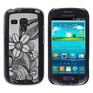 Be Good Phone Accessory // Dura Cáscara cubierta Protectora Caso Carcasa Funda de Protección para Samsung Galaxy S3 MINI NOT REGULAR! I8190 I8190N // flower in grey