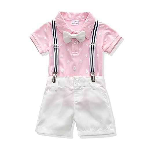 e975123b5a7 Toddler Boys Clothing Set Gentleman Outfit Bowtie Polo Shirt Bid Pants  Overalls