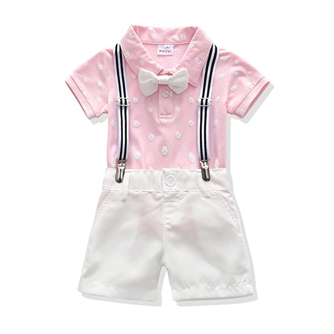 005d8289 Toddler Boys Clothing Set Gentleman Outfit Bowtie Polo Shirt Bid Shorts  Overalls (2T, Pink