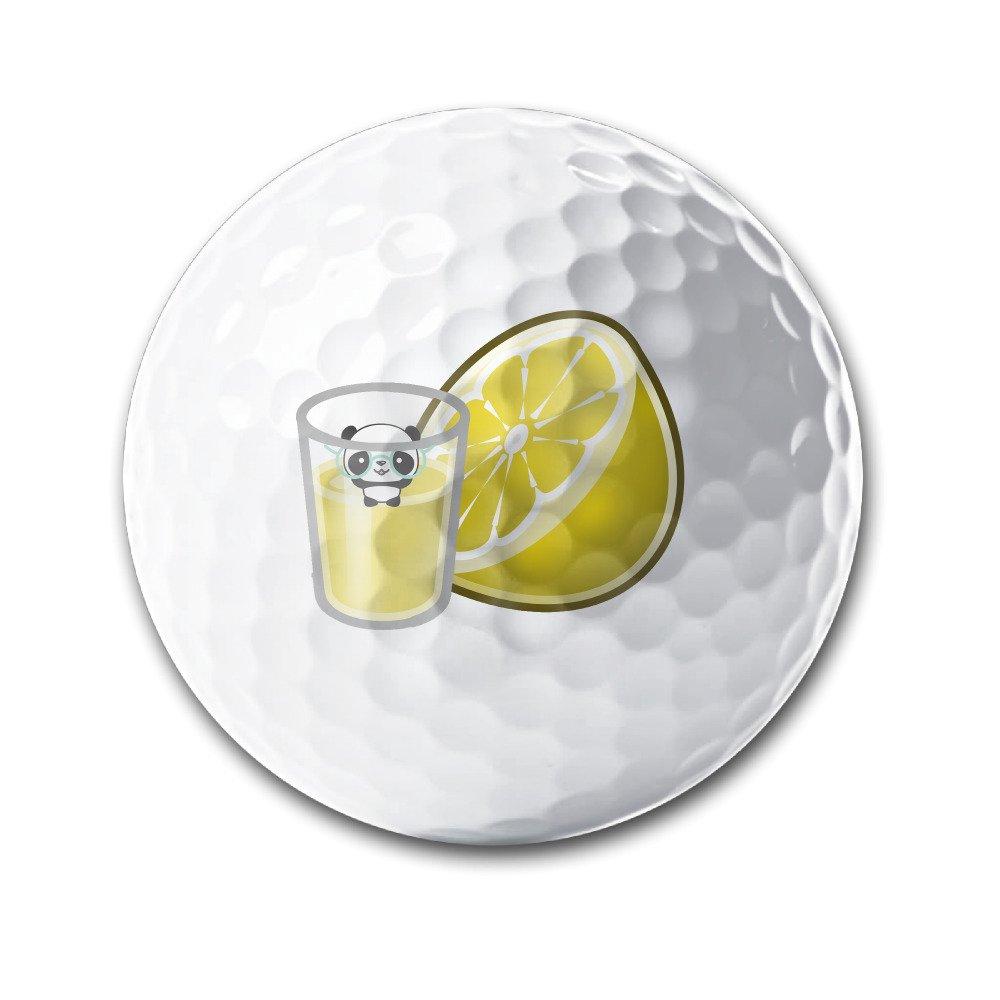 Cute Glasses Panda Lemon Juice White Elastic Golf Balls Practice Golf Balls Golf Training Aid Balls
