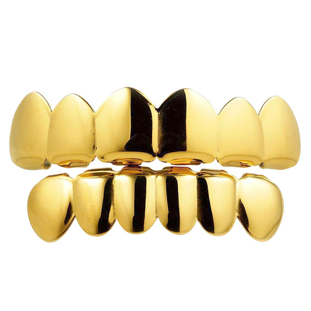 NIV'S BLING - 18k Yellow Gold-Plated Stainless Steel 6 Tooth Grillz Set by NIV'S BLING