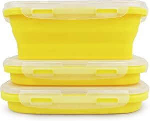 CCyanzi Set of 3 Yellow Collapsible Food Containers Collapsible Camping Bowl silicone storage containers, Safe to Microwave and Freezer, 800ml