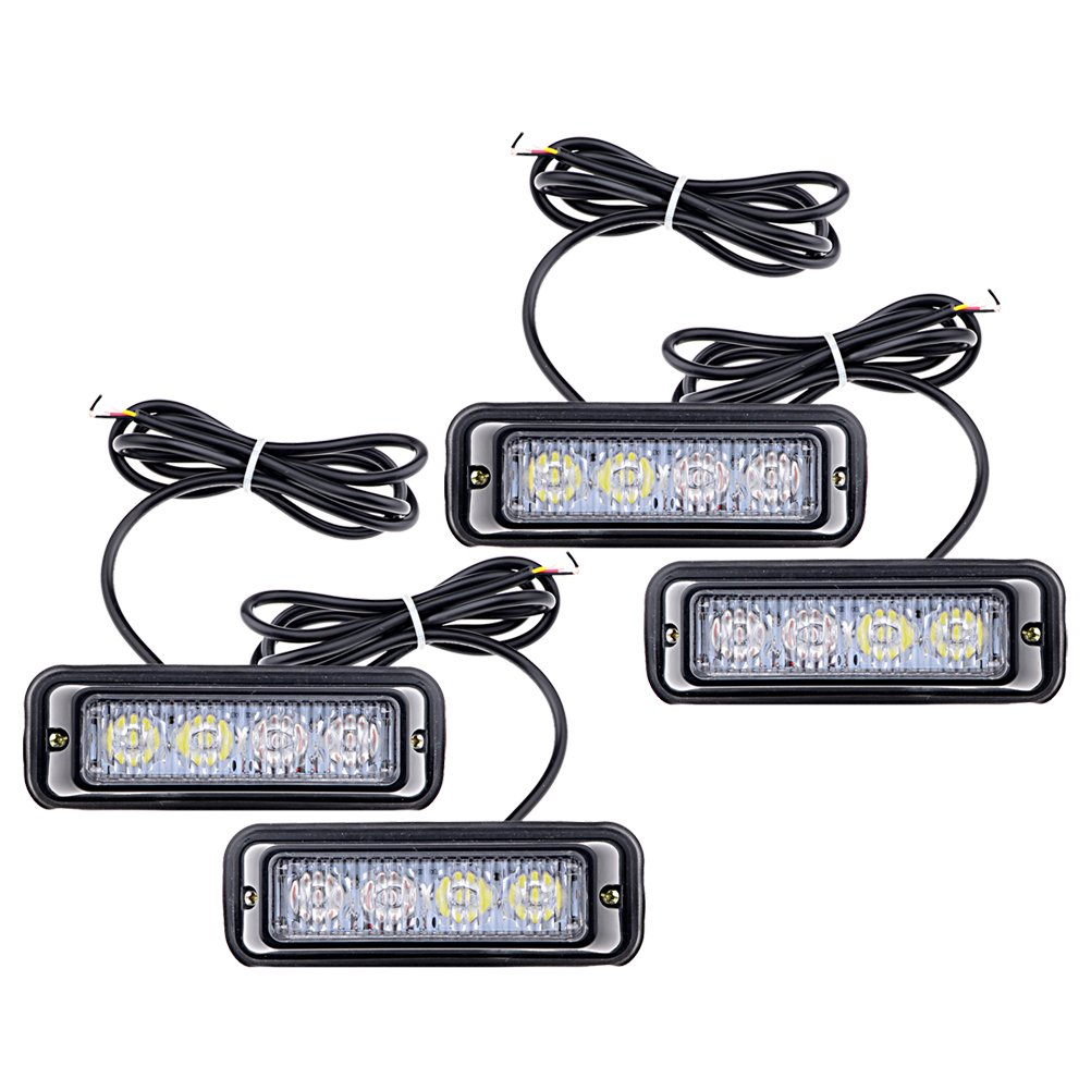Amazon.com: 4pcs 4-LED White Amber Waterproof Emergency Beacon Flash  Caution Strobe Light Bar 16 different flashing Car SUV Pickup Truck Van:  Automotive