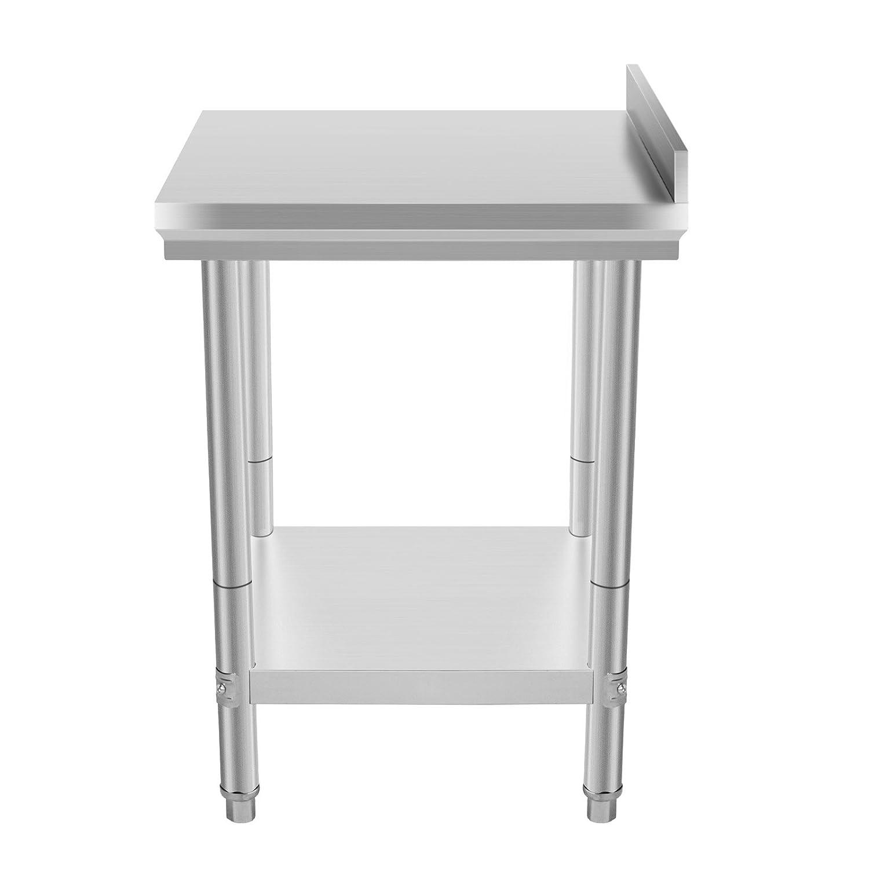BuoQua 60x60 CM Edelstahltisch Gastro Edelstahl Arbeitstisch Silber ...
