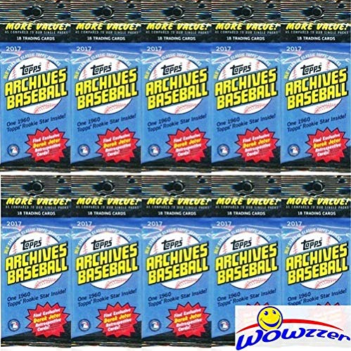 Derek Jeter Autograph Baseball - (10) 2017 Topps Archives Baseball EXCLUSIVE Factory Sealed Fat Packs with Total of (180) Cards! Look for Autographs of Aaron Judge, Mike Trout, Sandy Koufax & More! Look for Derek Jeter Retrospective!