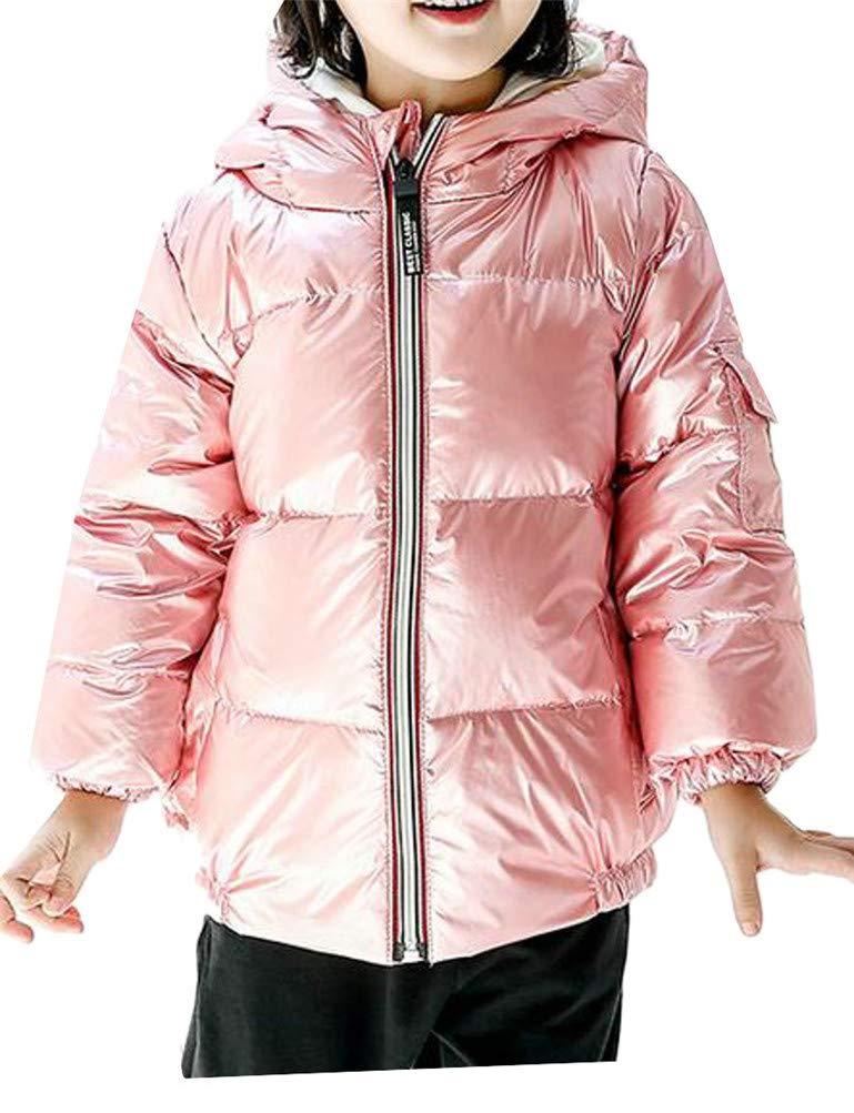 Cromoncent Boy Padded Hoody Metallic Sport Zip Pocket Down Jacket Parka Coat Pink 9T by Cromoncent (Image #1)