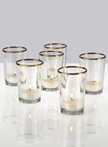 Serene Spaces Living Set of 6 Gold Rimmed Glass Votive Holders, Ideal for use at Home, Wedding, Aromatherapy, Spa, Reiki, Measures 3.5