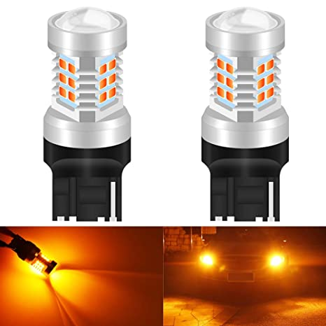 KaTur 7440NA 7441 992 Bombillas LED ámbar 2835 21SMD 80W Alta Potencia Lente LED 12V Respaldo ...