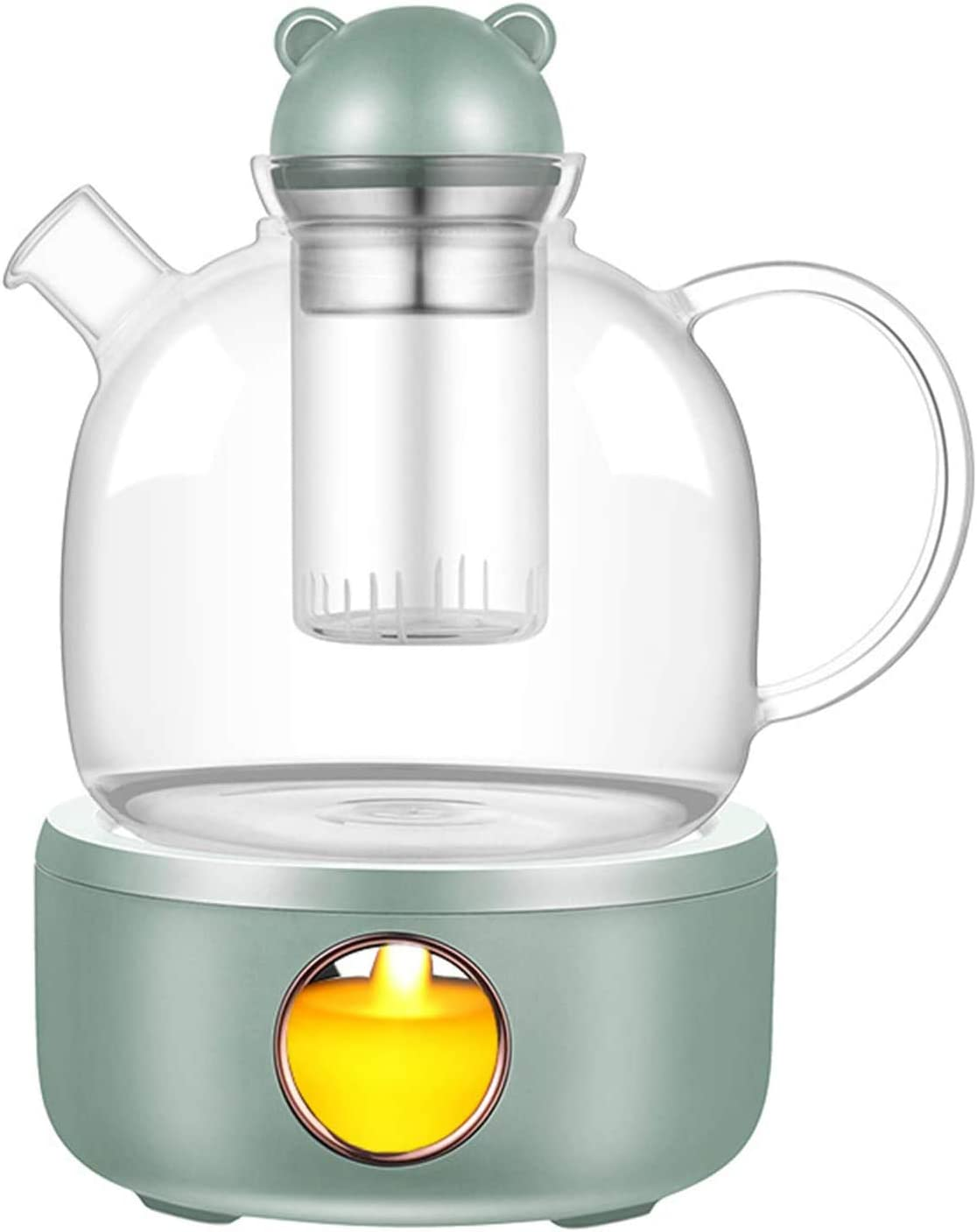 Glass Teapot Coffee Tea Warmer with Glass Infuser & Tea Warmer Set Coffee Moka Milk Warmer Pot Cup Warmer for Desk Simulation Light Candle 23oz/600ml Home Uses and Holiday Gift sets. (GREEN)