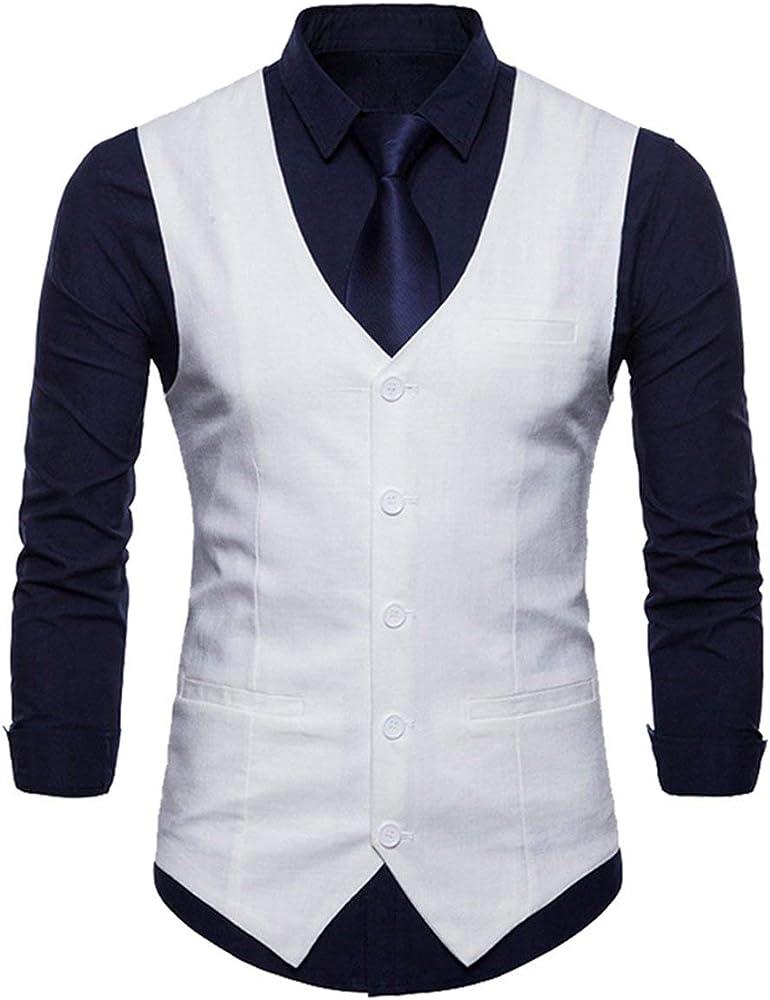 Hombre De Negocios Casual Slim Fit Formal Unico Vestido Traje De Smoking Chaleco Chaqueta De Traje De Negocios Chaleco (Color : Blanco, Size : S): Amazon.es: Ropa y accesorios