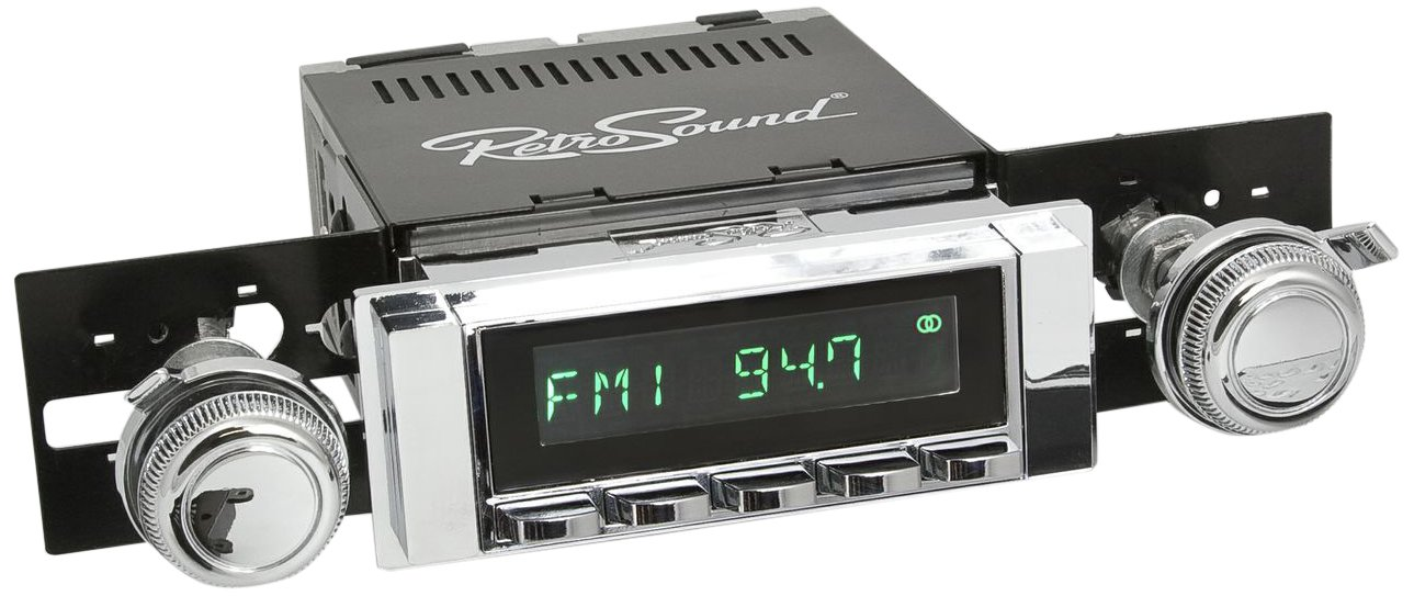 RetroSound HB-226-08-80 Hermosa Direct-Fit Radio for Classic Vehicles Black Face and Buttons, Black Bezel