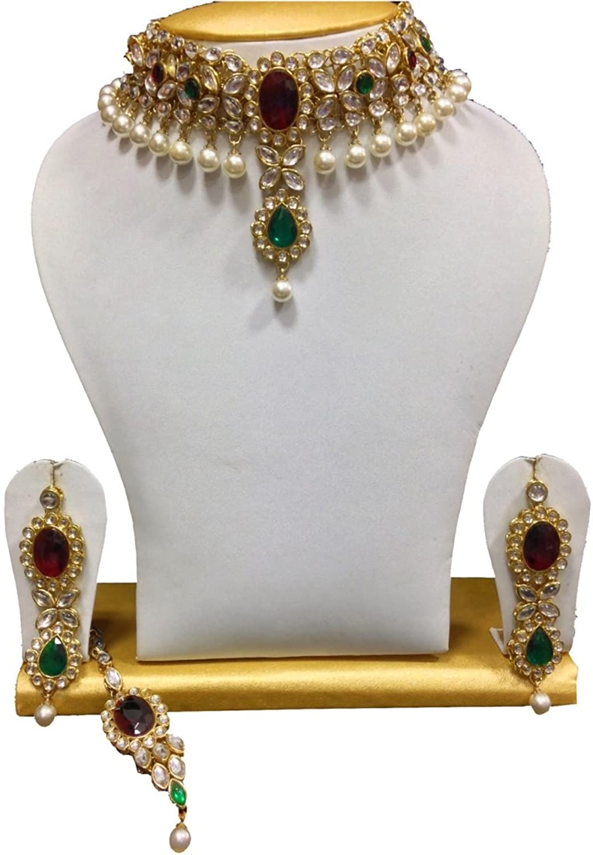 Buy Shining Diva Kundan Pearls Choker Traditional Jewellery Set ...
