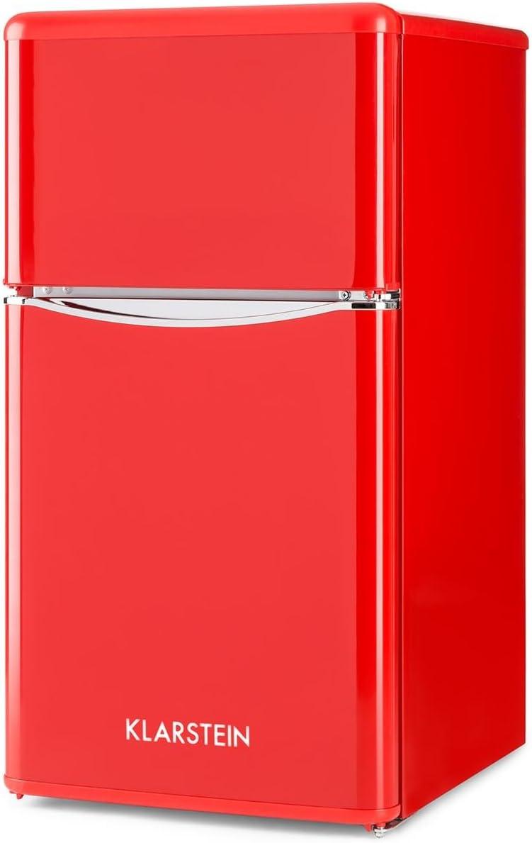 Klarstein Monroe Red 2020 Edition - Nevera con congelador, Frigorífico combi, Minibar, Capacidad total 85 L, 40 dB, Estantes de cristal, Eficiencia energética clase A+, Estilo vintage, Rojo