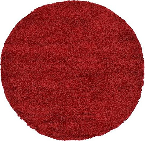 Unique Loom Solid Shag Collection Cherry Red 6 ft Round Area Rug (6' x 6') - Round Red Shag Rug