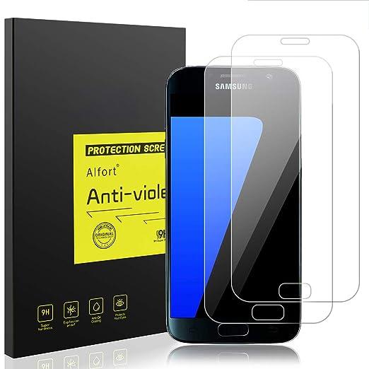 2-Unidades Protector de Pantalla para Samsung Galaxy s7, Alfort Templado Premium Grosor 0,26mm Alta Resistencia a Golpes 9H Alta Definicion Compatibles con 3D Touch No Generan Burbujas Transparente: Amazon.es: Hogar