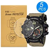 [5-Pack] for Casio GG-1000 / GG1000/GG-1000-1A5CR Watch Screen Protector, Full Coverage Screen Protector for Casio GG-1000 Watch HD Clear Anti-Bubble and Anti-Scratch