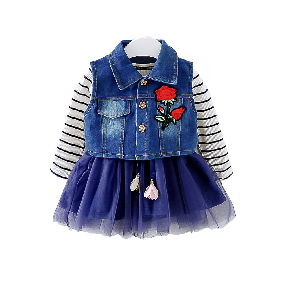 Moonnut Little Girls Dress and Denim Vest Set, Long-Sleeved Tutu Lace Chiffon Skirt Dress (12-18months, Navy)