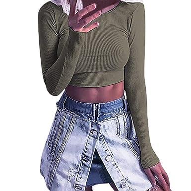 8ca215fcd279 OrchidAmor Fashion Women Long Sleeve O-Neck Tight Elastic T-Shirt Blouses  Crop Tops