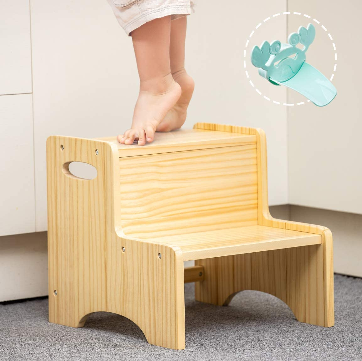 WOOD CITY Toddler Step Stool for Kids, Wooden Two Step Children's Stool with Handles, Bonus Non-Slip Pads for Safety, Bathroom Potty Stool & Kitchen Step Stools, Pine Wood: Furniture & Decor
