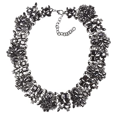 Nabroj Black Vintage Statement Necklace Bib Choker Crystal Drag Necklace For Women Costume Novelty Jewelry With Gift Box