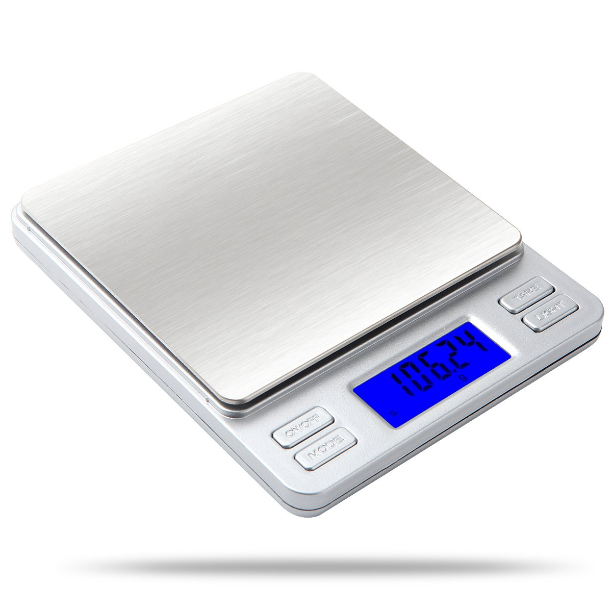 Weigh Gram 1000g/0.1g Digital Kitchen Scale Food Scale Pocket Scale High-Precision Multifunctional Pro Scale with Back-Lit LCD Display, Tare, Light Features, Stainless Steel (TP-1KG)