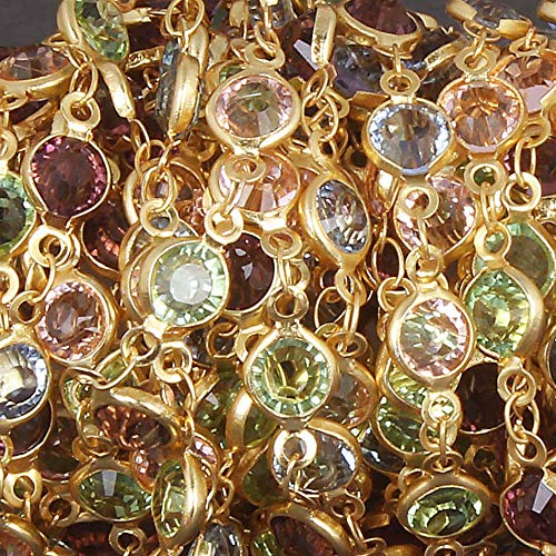 (1 Feet Multi Stone Hydro Coated Faceted Round 13x6mm 24k Gold Plateed Beaded Chain - Mix Stone Rosary Chain by LadoNarayani)