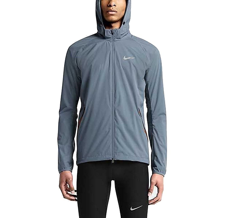 cefa6a6706d5 Nike Mens Full Zip Shield Light Running Jacket Blue Graphite Total Orange  XL at Amazon Men s Clothing store