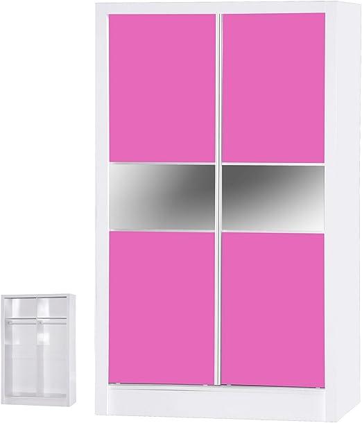 Alpha Armario de 2 Puertas correderas de Color Brillante, Madera, Rosa y Blanco, 180.5x110x51.5 cm: Amazon.es: Juguetes y juegos