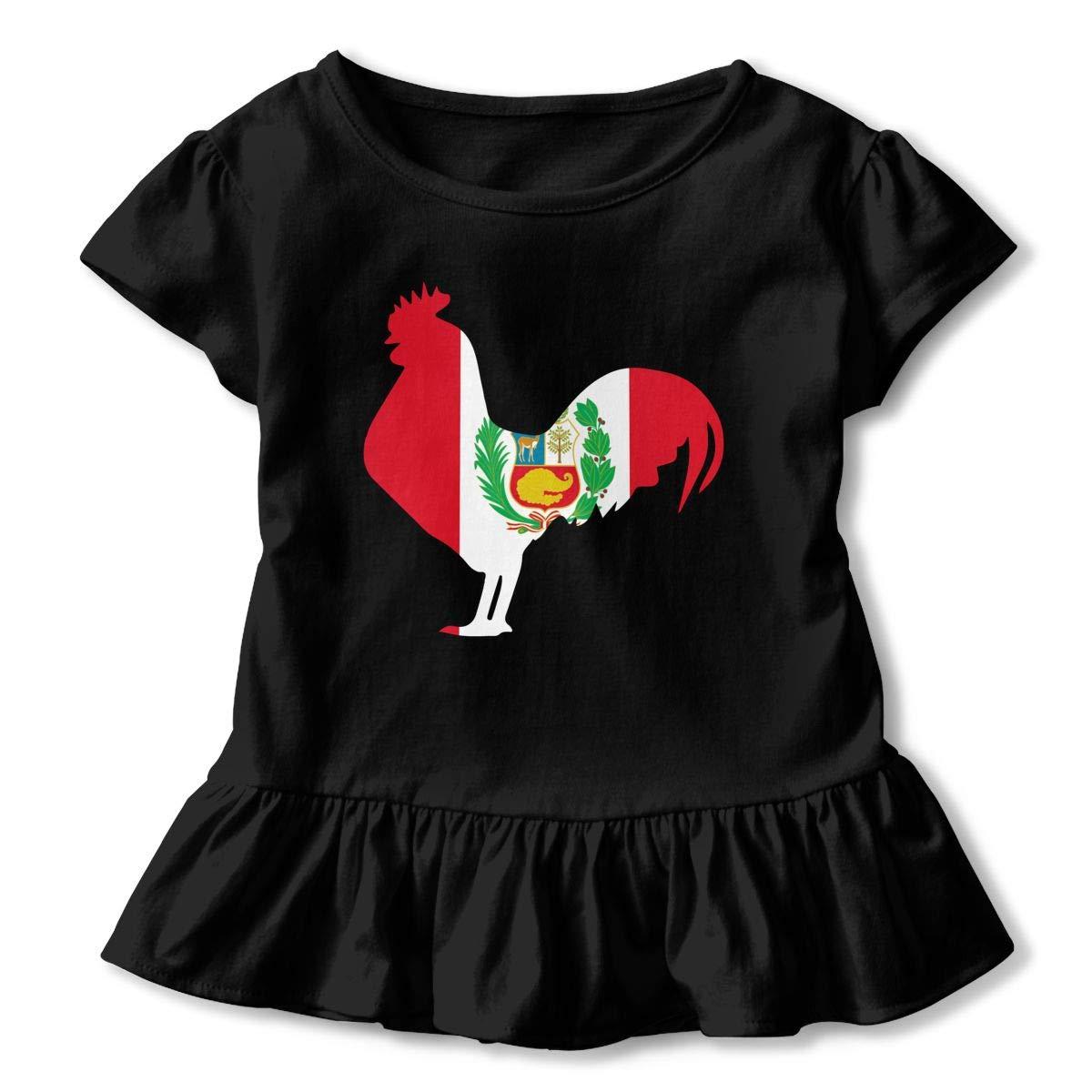 SHIRT1-KIDS Peru Flag Rooster Toddler//Infant Girls Short Sleeve T-Shirts Ruffles Shirt T-Shirt for 2-6T