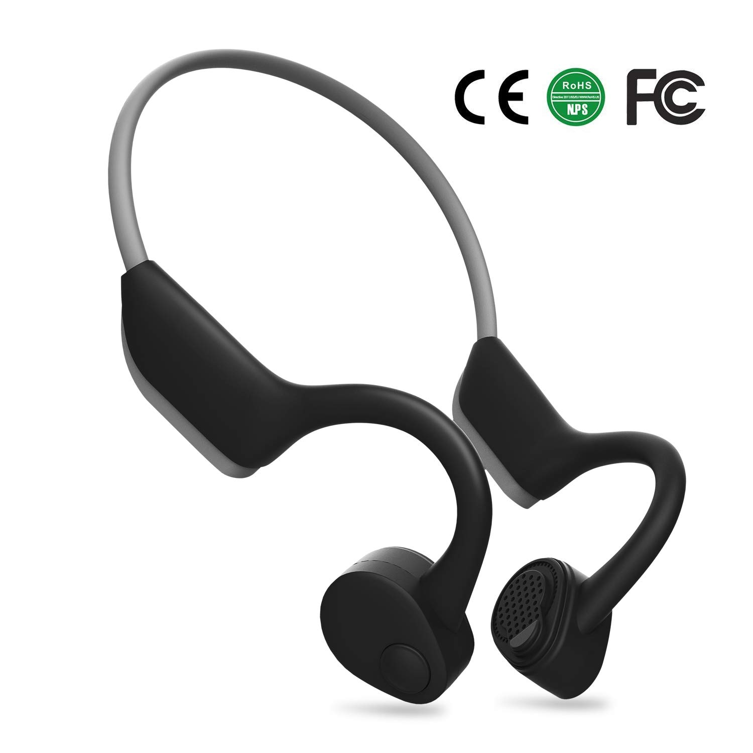 WGP Open Ear Wireless Bone Conduction Headphones, Bluetooth 5.0 Free Ears Lightweight Sports Headsets for Jogging Running Driving Cycling Sweatproof Earsets Grey