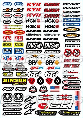 (Kungfu Graphics Mix Sponsor Logo Racing Helmet Sticker Sheet Universal (7.2 x 10.2 inch))