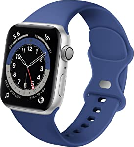 Distore Bands Compatible with Apple Watch 38mm 40mm 42mm 44mm, Soft Silicone Replacement Sport Strap for iWatch SE Series 6/5/4/3/2/1 Women Men, Capri Blue 42mm/44mm M/L