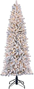 Home Heritage 7 Foot Frosted Alpine Quick Set Snowy Flocked Christmas Tree with Warm White Surebright LED Lights and Stand