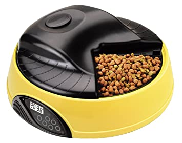 4 Comidas Dispensador De Comidas Comedero Automático Para Perros Gatos,Yellow: Amazon.es: Deportes y aire libre