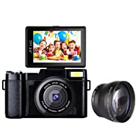 Digital Camera Camcorder Full HD Video Camera DIWUER Full HD 1080P 24.0MP 3.0 Inch LCD Mini Camcorders with Macro Lens and Flash Light