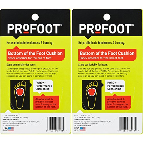 PROFOOT, Bottom of The Foot Cushion, 2 Pair, Ball of Foot Cushion Provides Padding to Metatarsals, Avoid Callouses, Helps Reduce Pain in The Forefoot, Try for Relief from Neuroma, Good for High Heels by Profoot (Image #1)