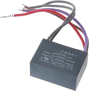 Selma CBB61 Condensador de Ventilador de Techo 4.5uf + 6uf + 6uf 5 ...