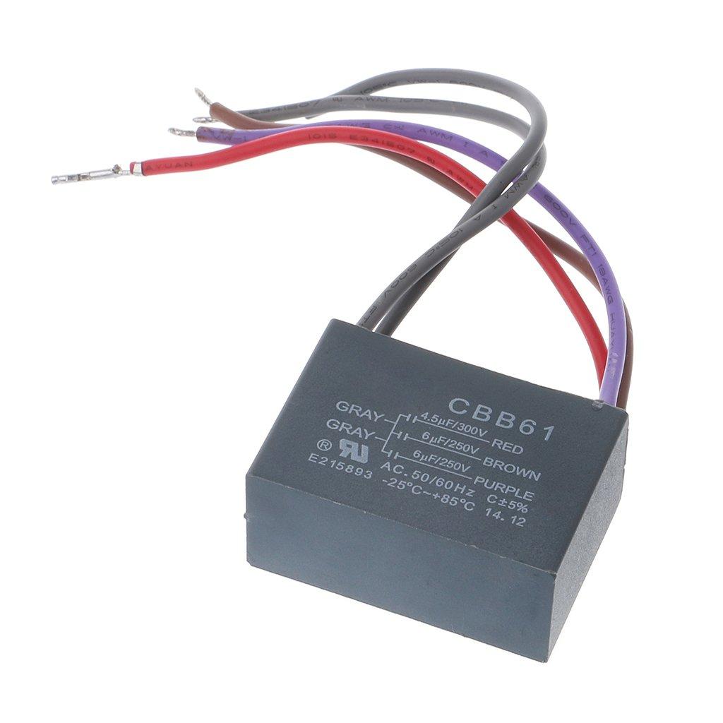 JENOR CBB61 condensador de ventilador de techo 4,5 uf+6 uf+6 uf 5 cables 250 V 5 velocidades de arranque condensador