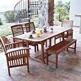 Cheap WE Furniture Solid Acacia Wood 6-Piece Patio Dining Set