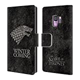 Official HBO Game of Thrones Stark Dark Distressed Sigils Leather Book Wallet Case Cover for Samsung Galaxy S9