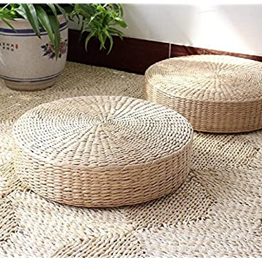 LB Japanese Style Handcrafted Eco-friendly Summer Breathable Padded Knitted Straw Flat Seat Cushion,Hand Woven Tatami Floor Cushion Corn Maize Husk Back Pain Relief Pillow,Zen Yoga Mat -Medium