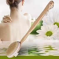Peppydami Cepillo de Cuerpo de Madera de Mango Largo Natural Masajeador Baño de Madera Ducha Regulador de Limpieza de la Piel Cepillo para ayudante de Limpieza de Espalda