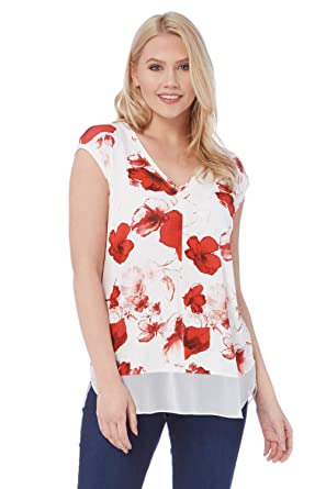 a881e892731 Roman Originals Women V-Neck Poppy Print Chiffon Hem Top - Ladies Short  Sleeve Flowers Pattern Going Out Smart Work Daytime Tops - Red   Amazon.co.uk  ...
