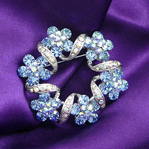 Glamorousky Elegant Flower Brooch with Blue Austrian Element Crystal (324) XadFuYs0