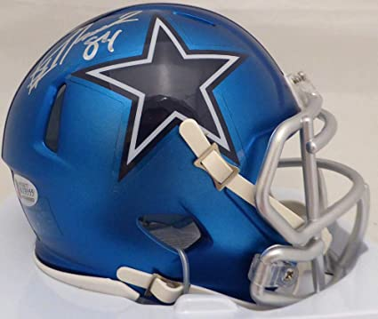 4de18bf3b Jay Novacek Signed Auto Dallas Cowboys Blue Blaze Speed Mini Helmet -  Beckett Certified